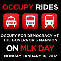 Transportation for the MLK Day march on the governor.